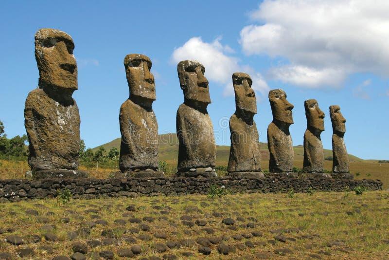 Ahu Akivi, Easter Island royalty free stock photography