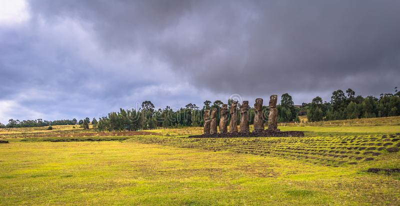 Ahu Akivi, Easter Island - July 11, 2017: Moai altar of Ahu Akivi royalty free stock photos
