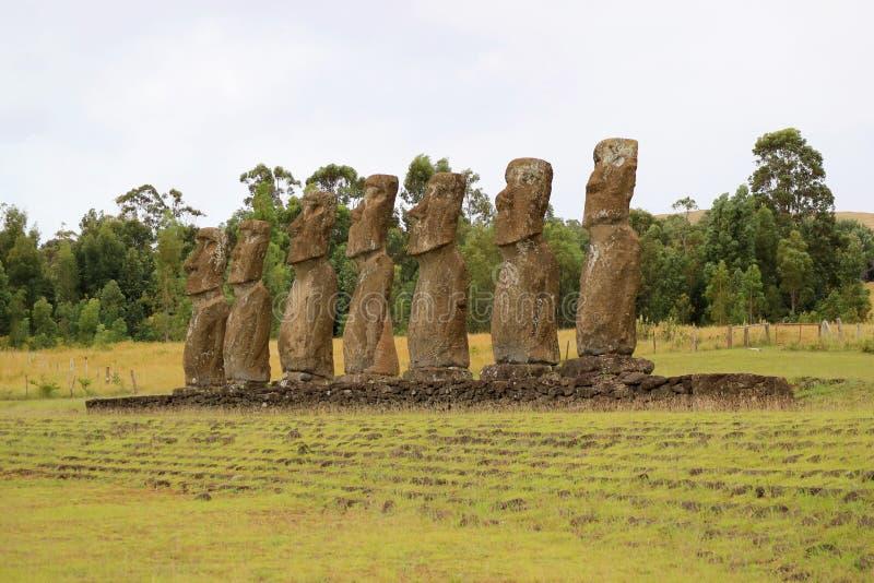 Ahu Akivi, het Plechtige Platform dat de Groep die Moai-Standbeelden uit naar Vreedzame Oceaan, Pasen-Eiland, Chili kijken royalty-vrije stock foto's