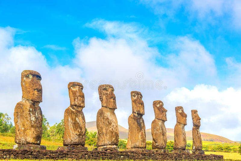 Ahu Akivi Moai stock afbeeldingen