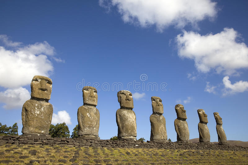 Ahu Akivi Moai, Easter Island, Chile. stock photos