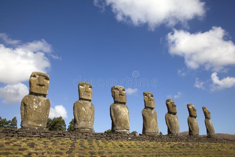 Ahu Akivi Moai, Pasen-Eiland, Chili stock foto's