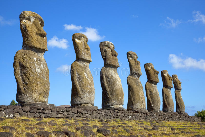 Ahu Akivi Moai, Rapa Nui, νησί Πάσχας, Χιλή στοκ φωτογραφία με δικαίωμα ελεύθερης χρήσης