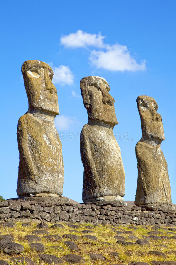 Ahu Akivi Moai, Rapa Nui, Easter Island, Chile. View of three of the seven Ahu Akivi Moai, which are the only Moai to face the sea, Rapa Nui, Easter Island stock image