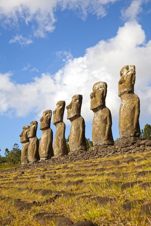 Ahu Akivi Moai, Rapa Nui, Pasen-Eiland, Chili stock foto's