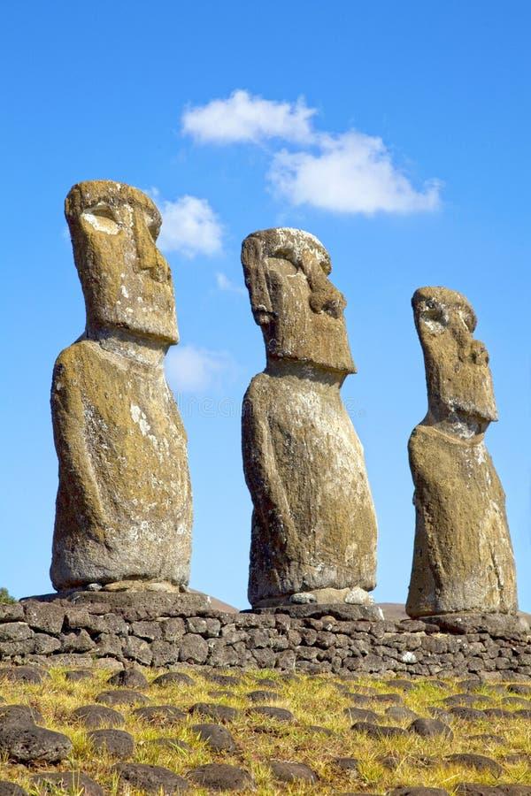 Ahu Akivi Moai, Rapa Nui, Pasen-Eiland, Chili stock afbeelding