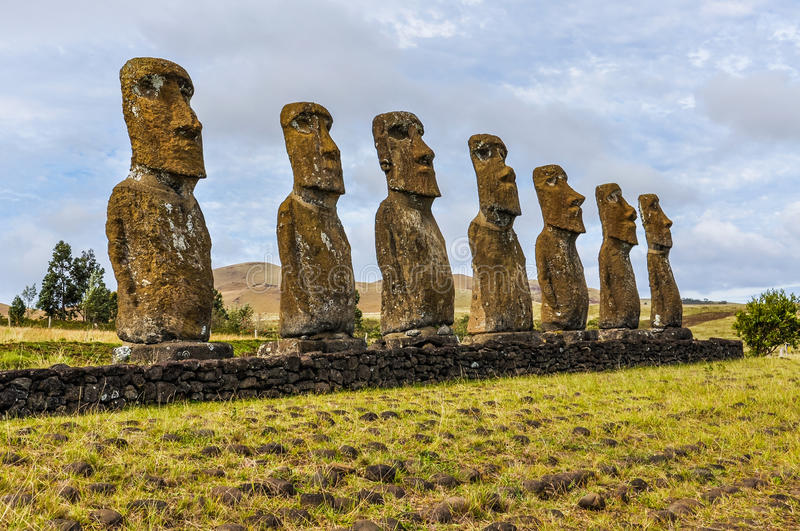 Ahu Akivi site in Easter Island, Chile. Ahu Akivi site, the only moai statues facing towards the sea in Easter Island, Chile royalty free stock images