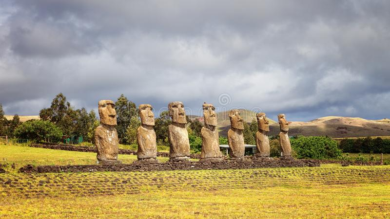 Ahu Akivi was the first restored Ahu, seven moai facing the rising sun, representing the seven scouts sent before the arrival royalty free stock photography