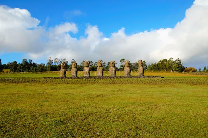 Ahu Akivi zeven Moai royalty-vrije stock foto's