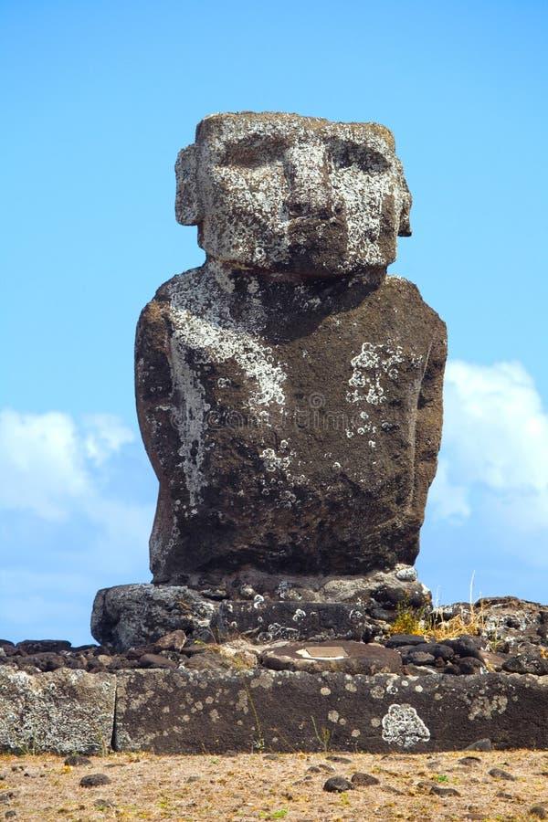 Ahu Ature Huki, Anakena-Strand, Pasen-Eiland, Chili royalty-vrije stock foto