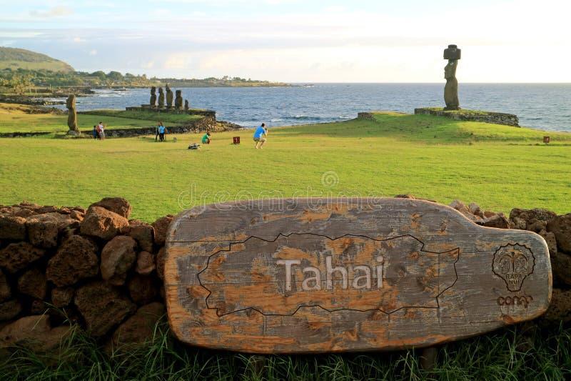 Ahu Tahai,有Moai雕象的礼仪平台,观看的日落的著名地方复活节岛的,智利 免版税库存照片