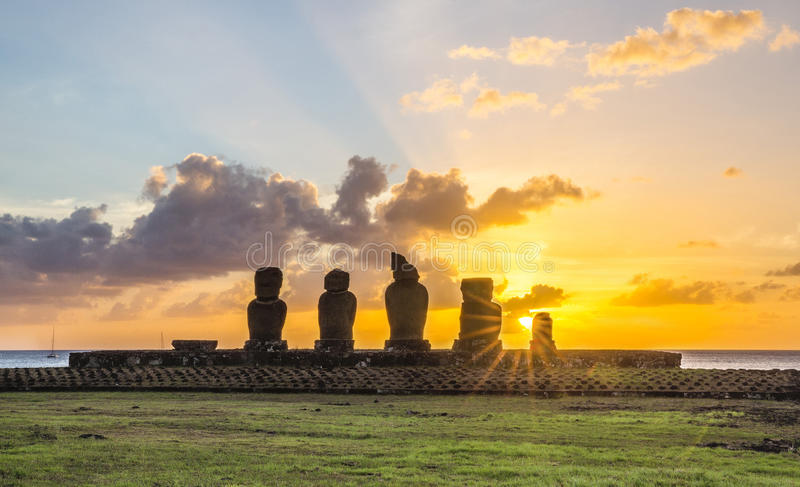 Ahu Tahai, île de Pâques, Chili images libres de droits
