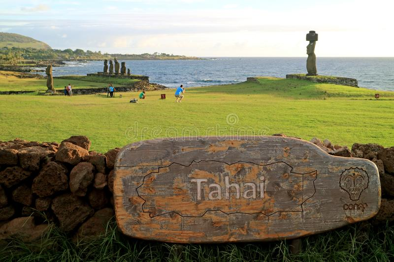 Ahu Tahai, the Ceremonial Platform with Moai Statues, Famous Place for Watching Sunset on Easter Island, Chile royalty free stock photo
