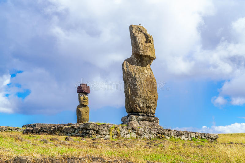 Ahu Tahai och Ahu Ko Te Riku royaltyfria foton