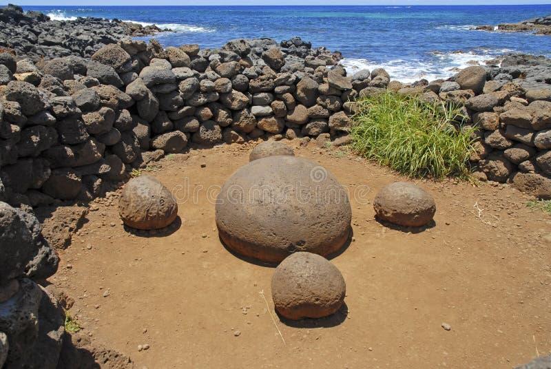 Ahu Te Pito Kura (Nabel der Welt) Rapa Nui stockbild