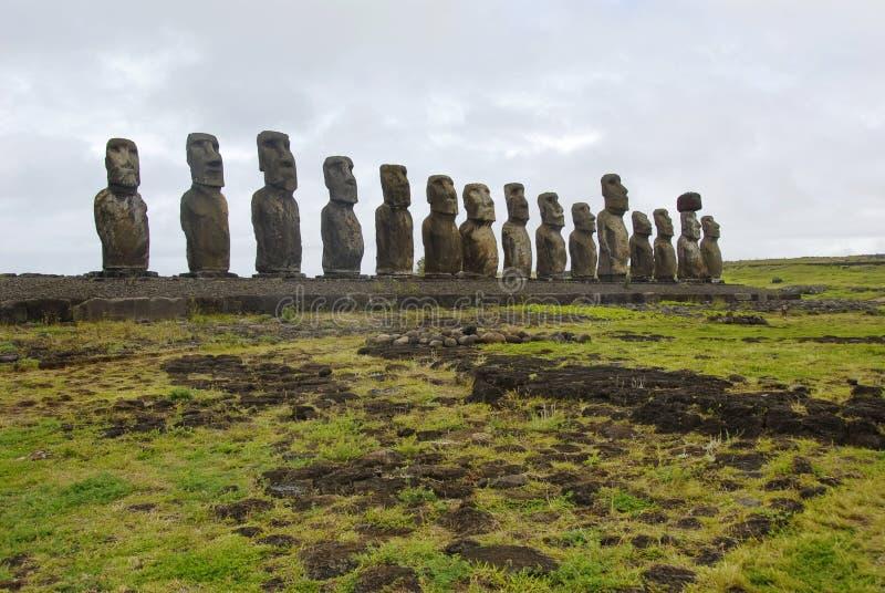 Ahu Tongariki. Moais on Ahu Tongariki, the largest one ever built stock photo