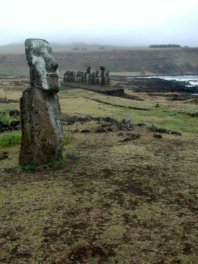 Ahu Tongariki. Moai, Easter Island stock photo