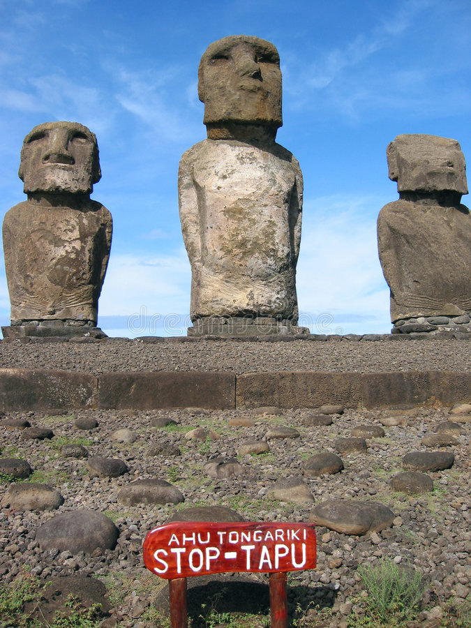 Ahu Tongariki. Moai of Easter Island royalty free stock photography