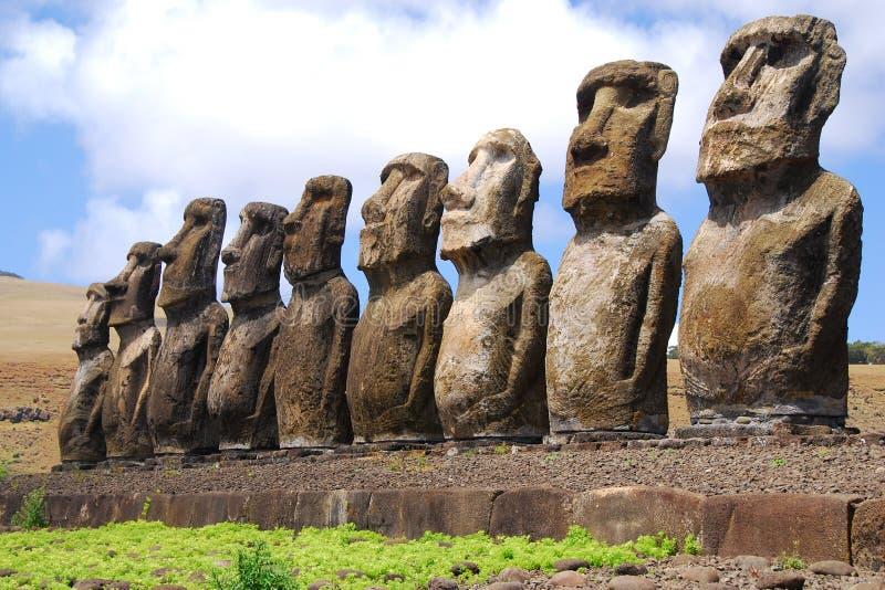 Ahu Tongariki. Easter Island (Rapa Nui) moai of Ahu Tongariki royalty free stock images