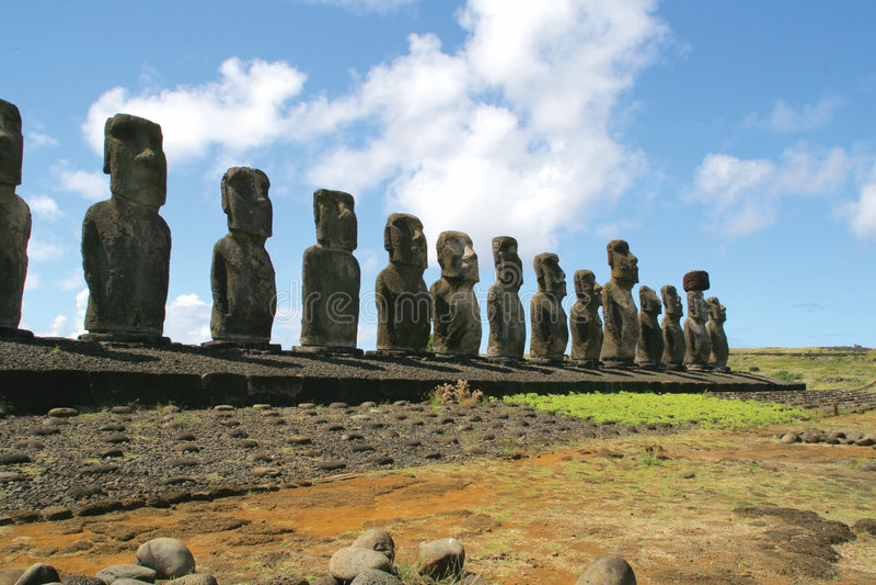 Ahu Tongariki, Easter Island. Ahu Tongariki - the largest ahu on the Easter Island stock images