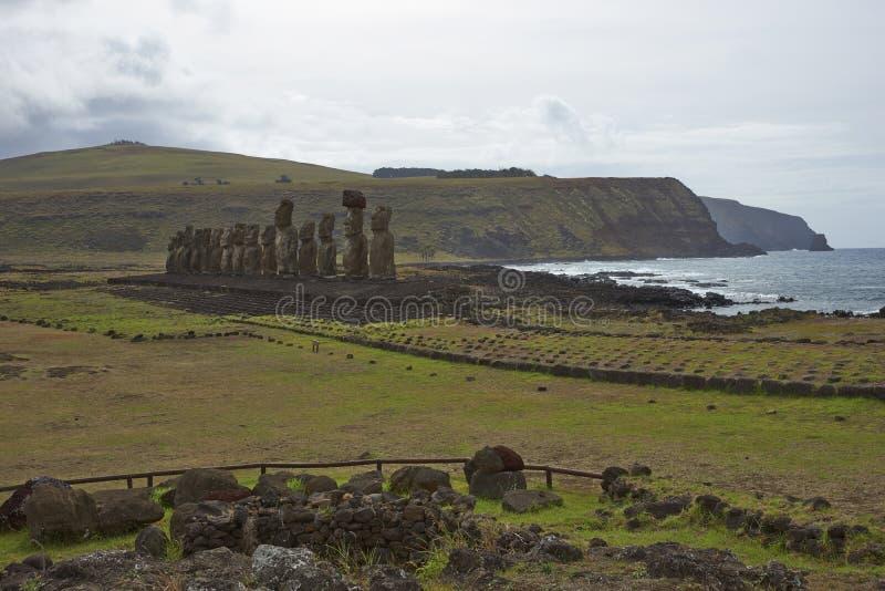 Ahu Tongariki, Easter Island, Chile stock images
