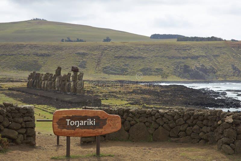 Ahu Tongariki, Easter Island, Chile stock photography