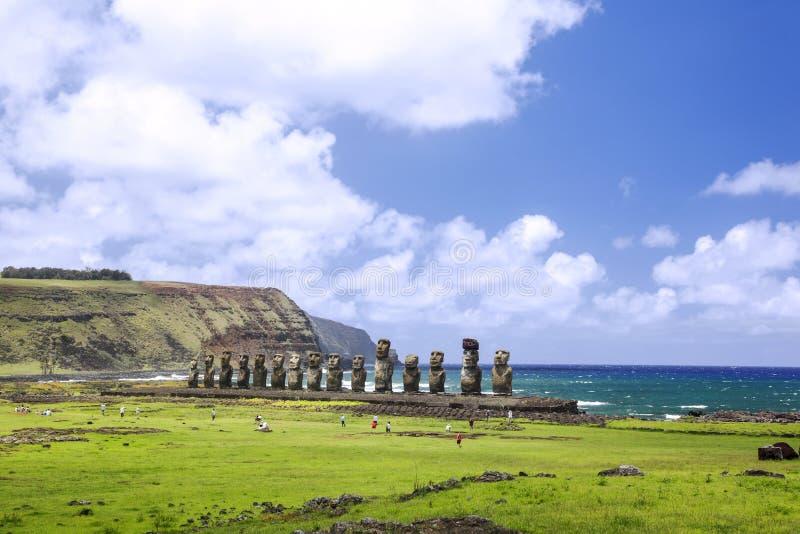 Ahu Tongariki. Easter Island, Chile - February 6, 2012: Moais of Ahu Tongariki on Easter Island, Chile stock photography