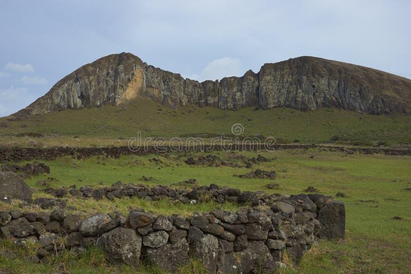 Ahu Tongariki, Easter Island, Chile. Ahu Tongariki. Location of ancient Moai statues on the coast of Rapa Nui (Easter Island). In the background is Rano Raraku royalty free stock image