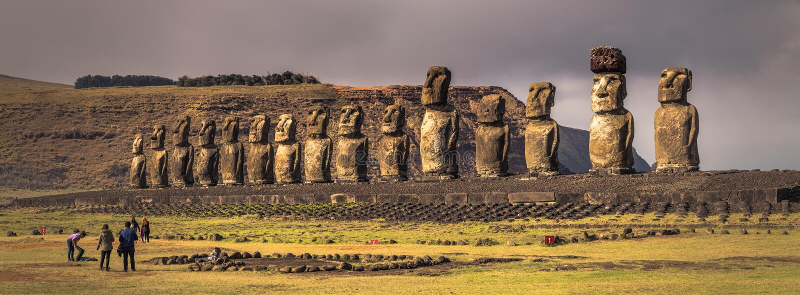 Ahu Tongariki, Easter Island - July 10, 2017: Moai altar of Tong. Ahu Tongariki, Easter Island - July 10, 2017: The Moai altar of Tongariki, Easter Island stock images