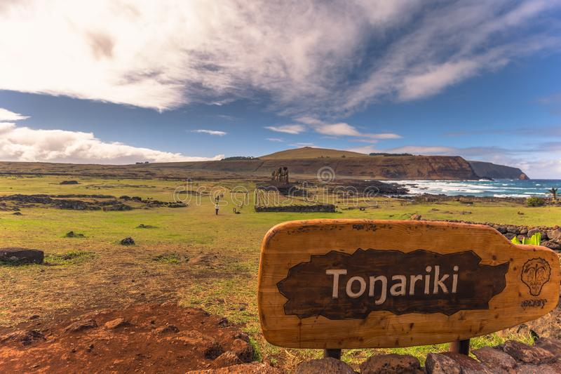 Ahu Tongariki, Easter Island - July 10, 2017: Moai altar of Tong royalty free stock photos