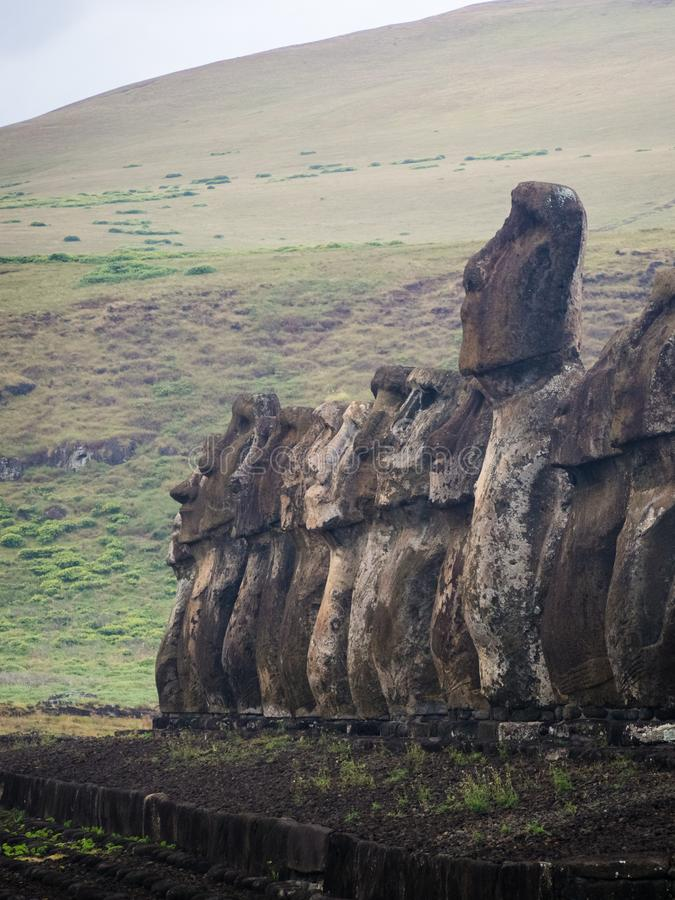 Ahu Tongariki in Easter Island, Moais at rapa nui royalty free stock photography