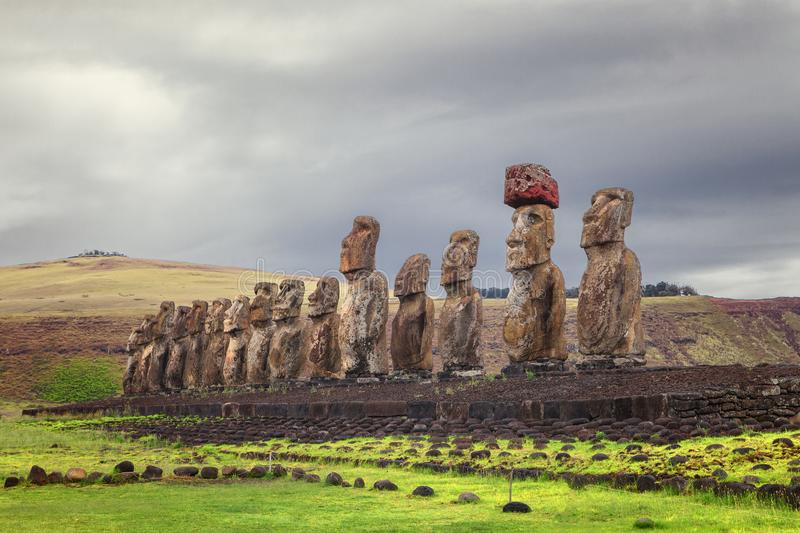 Ahu Tongariki, is the largest ahu on Easter Island, Chile royalty free stock image