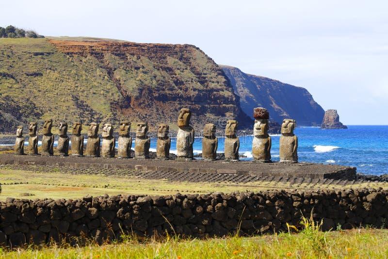 Ahu Tongariki`s moai at Easter Island, Chile. Ahu Tongariki is the largest ahu on Easter Island, it has fifteen moai including an 86 tonne moai royalty free stock image