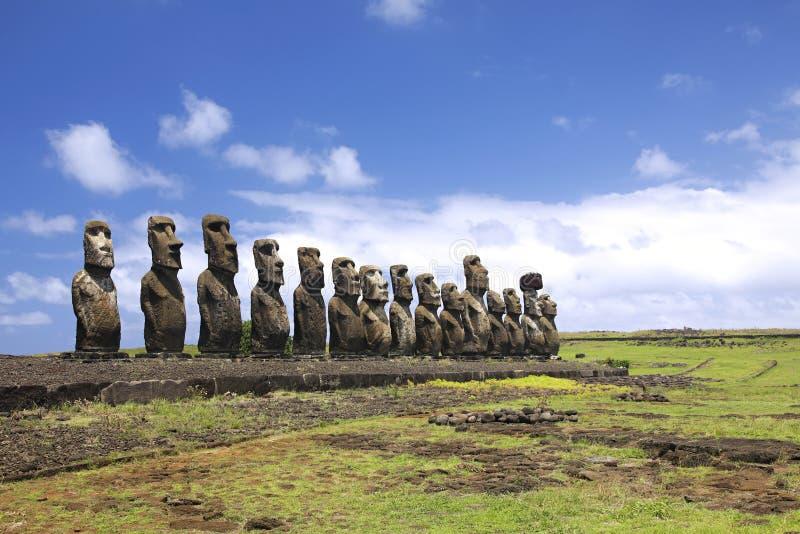 Ahu Tongariki. The largest ahu on Easter Island stock photo