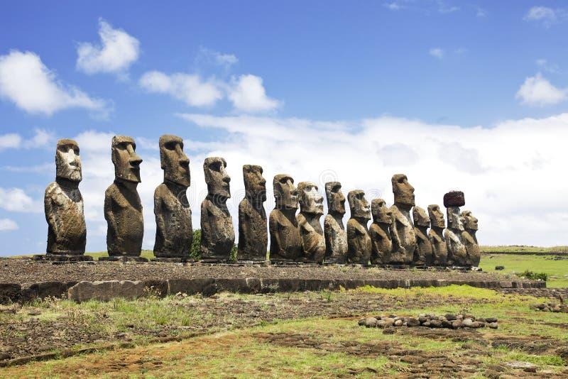 Ahu Tongariki. The largest ahu on Easter Island royalty free stock photos