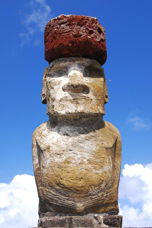 Ahu Tongariki moai with top knot royalty free stock images