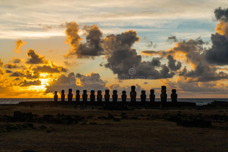 Ahu Tongariki at sunrise. Moai at Ahu Tongariki on Easter Island at sunrise royalty free stock photos