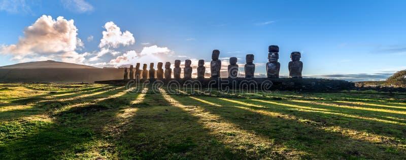 Ahu Tongariki at sunrise. Panoramic view of moais at Ahu Tongariki at sunrise, Easter Island (Rapa Nui), Chile royalty free stock images