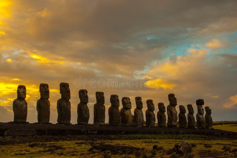 Ahu Tongariki. Sunrise at Ahu Tongariki on Rapa Nui stock photos