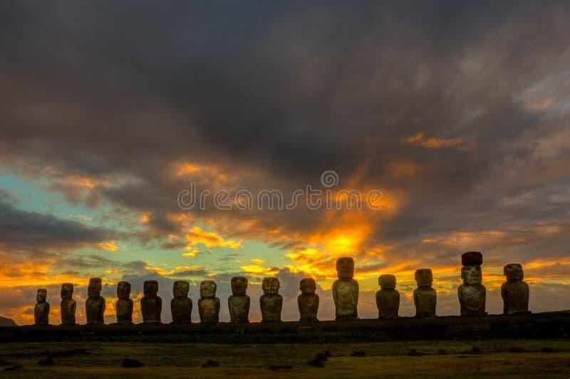 Ahu Tongariki. Sunrise at Ahu Tongariki on Rapa Nui stock photo
