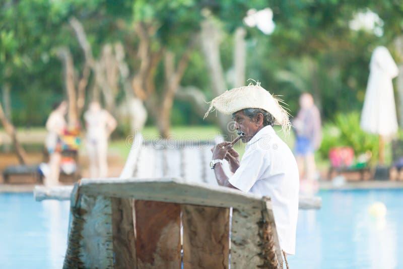 Ahungalla, Sri Lanka - viejo jugador de flauta nativo que se sienta en tra fotografía de archivo libre de regalías