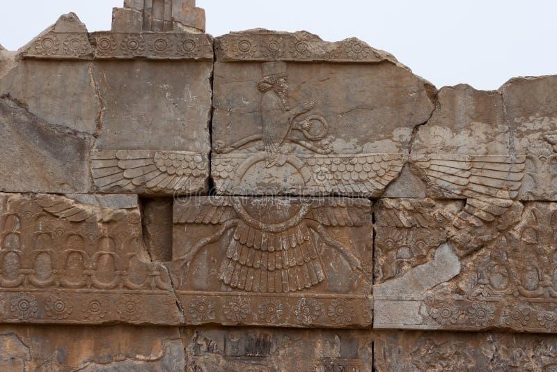 Ahura Mazda - perski barelief w Persepolis obrazy royalty free