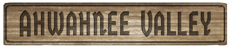 Ahwahnee drewna Dolinny znak zdjęcie royalty free