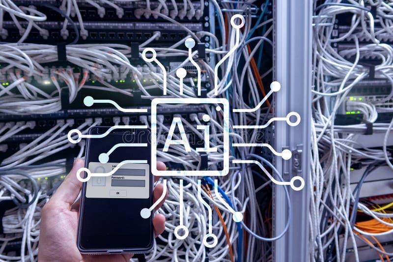 AI、人工智能、自动化和现代信息技术概念在虚屏上 图库摄影
