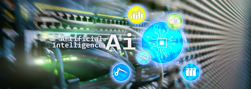 AI、人工智能、自动化和现代信息技术概念在虚屏上 免版税库存照片