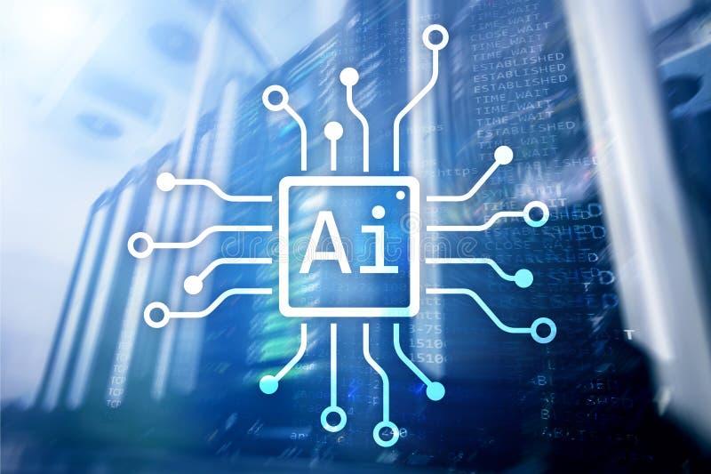 AI、人工智能、自动化和现代信息技术概念在虚屏上 免版税库存图片