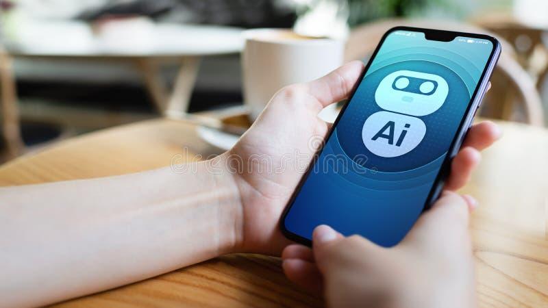 AI人工智能深刻的机器学习概念 在流动手机屏幕的机器人象 免版税库存图片