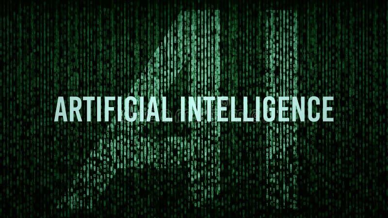 AI人工智能计算机编码标题商标 免版税库存照片