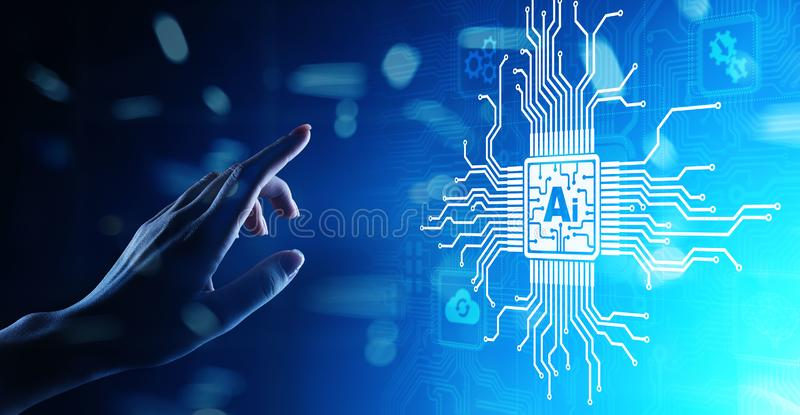 AI人工智能,机器学习,大数据分析和自动化技术在事务在虚屏上 免版税库存照片