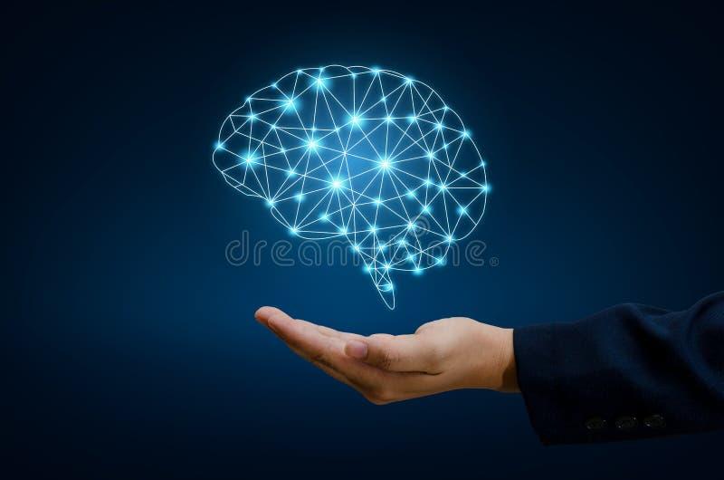 AI手商人按电话 脑子图表二进制蓝色技术 免版税库存照片